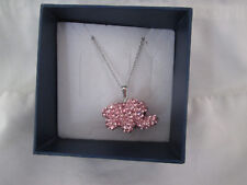 """Trunks Up For Good Luck New Pink Crystal Elephant 20"""" Necklace"""