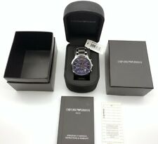 NEW  EMPORIO ARMANI MENS AR2448 WATCH BLUE DIAL STAINLESS STEEL