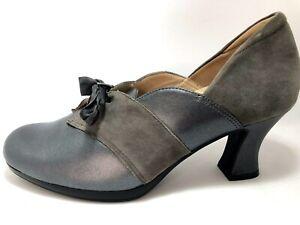 Kumfs Ziera Sz 39.5 Metallic Grey Leather & Suede Lace Up Heeled Courts& Inserts