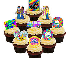 60s Party Pack 36 Edible Cupcake Toppers Standup Cake Decorations 50th Birthday