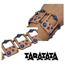 Taratata Big Bracelet Original Copper Patina Email Pink Crystal Blue Jewel