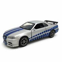 1:36 Nissan Skyline GTR R34 Model Car Diecast Toy Vehicle Doors Open Silver Kids
