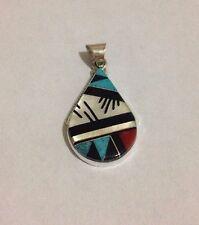 Native American Zuni Handmade Multi-Stone Inlay Sterling Silver Pendant