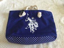 NWT US Polo Assn Blue Polka Dot Canvas & Rope Beach Tote Bag