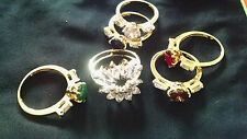Indian Exclusive Bridal Wear Changeable Cubic Stone AD Gold Plated Finger Rings