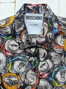 MOSCHINO Designer Men's SHIRT size LARGE - Drinks Can Pattern - FABULOUS