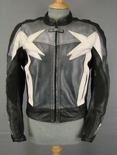 ASHMAN BLACK, GREY & WHITE COWHIDE LEATHER BIKER JKT WITH REMOVABLE PADS SIZE 12