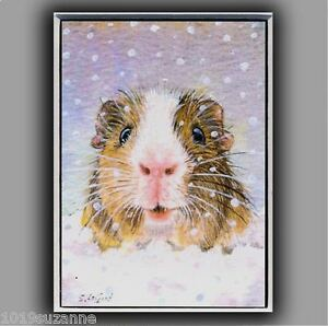 Guinea Pig art ACEO print from original painting snow cavy by Suzanne Le Good