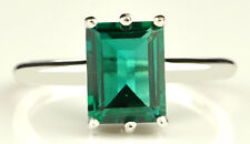 100% Natural Green Emerald Octagon Shape 1.50CT 925 Sterling Silver Women's Ring