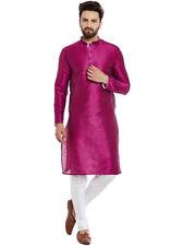 Indian Art Silk Cotton Blend Men Kurta Shirts T-Shirt Tunic Solid Color All Size