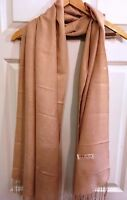 "Pashmina Wrap 30% Silk 70% Wool Blend Beige  Scarf with Fringe 26"" x 68"""
