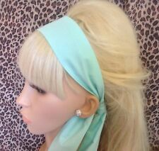 PLAIN MINT GREEN COTTON FABRIC HEAD SCARF HAIR BAND SELF TIE BOW 50s 60s STYLE