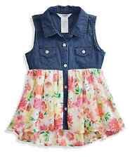 Guess Girls' Denim and Chiffon Top Dress,GGA09236A, Dark Stone, Size 5,MSRP $42