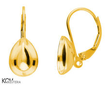 Leverback earring for Swarovski 4320 10 mm kz 88 - gold-plated silver (1 pair)