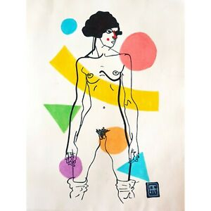 Francois Aguiard,drawing,ink on paper, Egon Schiele,naked woman,contemporary art