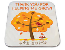 Personalised Printed Coaster christmas teacher gift thank you grow autumn tree