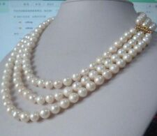 "Charming 3 row natural 9-10mm south sea white pearl necklace 18""19""20"""