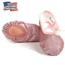 Nexete Ballet Dance Shoes Slippers Split-Sole Flats in Rose Gold Silver Pink ...