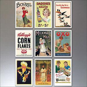 Fridge Magnets Vintage Retro Advert Poster Fridge Magnets Art Deco set of 9 No.2