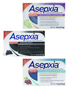 Asepxia 4oz Acne Bar Soap Deep Cleansing— Choose Softening, Charcoal or Scrub