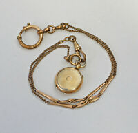 99825494 Uhrkette mit Medaillon-Anhänger Tombak vergoldet 19. Jh.