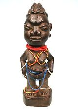 Art Africain Ethnique - Ancien Ibeji Yoruba Orné de Colliers de Perles - 24 Cms