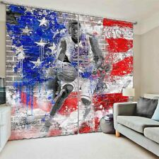 Red Blue Walls Athletes 3D Curtain Blockout Photo Printing Curtains Drape Fabric
