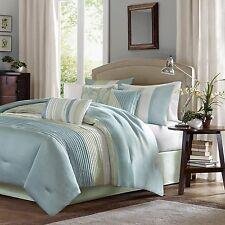 Queen Size Comforter Pillow Set Bed In A Bag 7 Piece Modern Teal Blue Stripe New