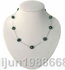 """AAA + 10-11 mm NATURAL TAHITIAN GENUINE BLACK PEARL NECKLACE 18 """"Silver chain"""