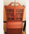 Antique Secretary Desk Bookcase GlassTop-Cabinet 3drw Dovetail  Circa 1940s