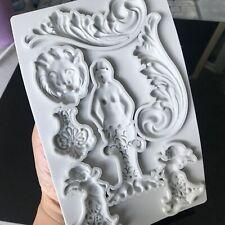 Mermaid Angel Baroque Silicone Fondant Mould Cake Decorating Border Baking Mold