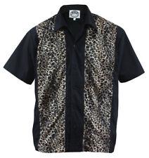 Size L Herren Bowling Shirt Work Hemd mit Leo Leopard Rockabilly fake fur retro
