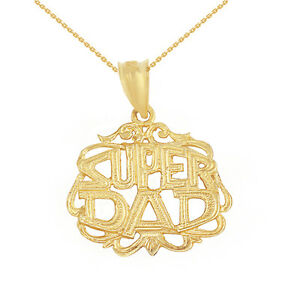 10k Solid Yellow Gold Father's Day Super Dad Filigree Pendant Necklace