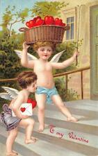VALENTINE HOLIDAY ANGELCHERUBS DELIVERING LETTER & HEARTS EMBOSSED POSTCARD 1910