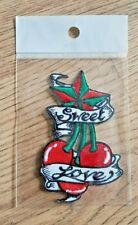 Patch Sweet Love Kirsche Stern 9 x 6 cm Bügelflicken Rot Grün Aufnäher Flicken
