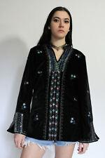 VTG Ethnic India Floral Embroidered Velvet Deep V Bell Slv Boho Tunic Top Xs/S