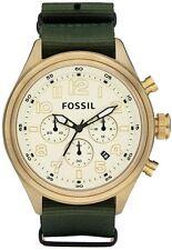 Fossil DE5001 Men's Vintage Gold Tone Slip-Thru Nylon Band Chronograph Watch