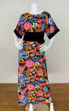 Vintage 60's 70's Floral Print Obi Velvet Waist Kimono Sleeve Maxi Dress  2/4 S