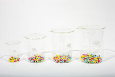 LABORATORY BOROSILICATE GLASS MEASURING BEAKER SET 100;250;400;600ML - 1 OF EACH