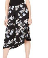 INC Womens Midi Skirt Black Multi Size 0 Asymmetrical Floral Print $89 468