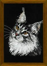 "RIOLIS Counted Cross Stitch Kit 1599 ""Maine Coon"" Cat Animals"