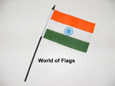 "INDIA SMALL HAND WAVING FLAG 6"" x 4"" Indian Asian Crafts Table Desk Top Display"