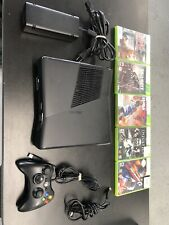 TESTED XBOX 360 S Slim Console 250gb W/Controller, Power Supply, HDMI, 5 Games.