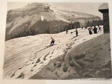 N.8/ Joanny DREVET (1889-1969), GRAVURE EAU FORTE Les Skieurs MONTAGNE CHAMONIX