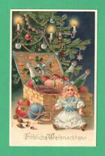 VINTAGE CHRISTMAS POSTCARD DOLL IRON BASKET OF NUTS CHAMPAGNE FRUIT UNDER TREE