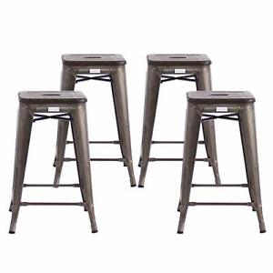Buschman Metal Bar Stools 61 cm Counter Height Industrial Dining Chairs