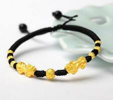 2017 New black 24K Yellow Gold Bracelet Man Woman's 3D Lucky Pixiu Link 3mm Bead