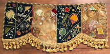 Charming antique embroidered velvet fringed panel