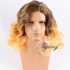 Men's Natural Fashion Wig Long Curly Brown to Yellow Colored 2 Tones Synthetic ~