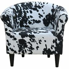 Black Cow hide Barrel Chair Contemporary Accent for Living Room Bedroom Sitting